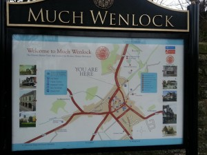walking in shropshire - much wenlock sign - walking & wine
